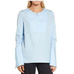 Lewit ruched sleeve poplin blouse silk v-neck NWT